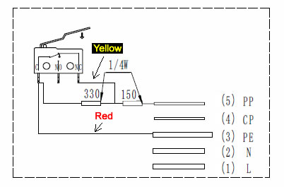 J1772 plug switch yellow red wires